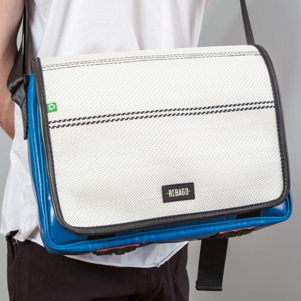 Tasche Estudio weiß/blau