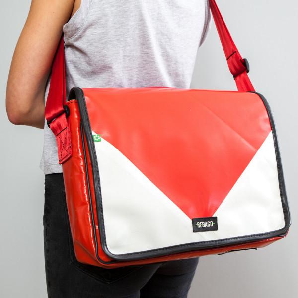 Tasche Estudio rot/weiß